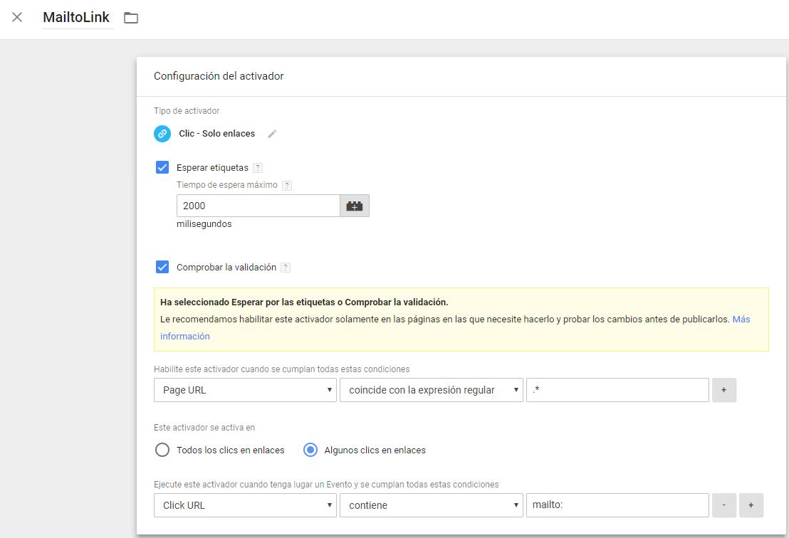 Seguimiento del teléfono y email con Google Tag Manager