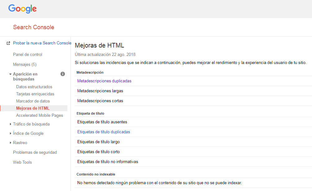 Desindexar con Search Console