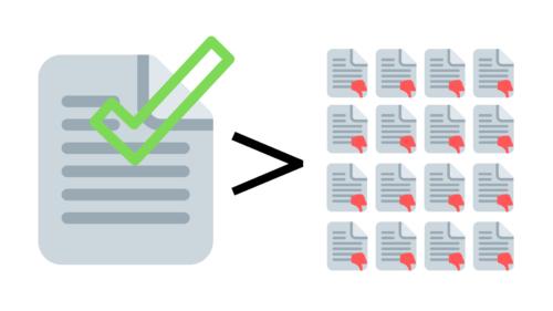 ilustracion de documentos de calidad vs cantidad