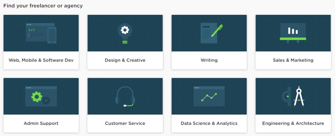 Captura del sitio web de Upwork